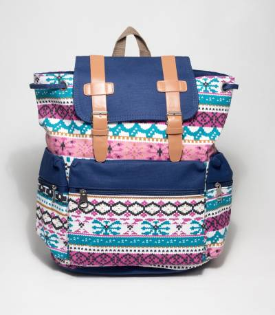 Blue Color Abstract Design School Bag