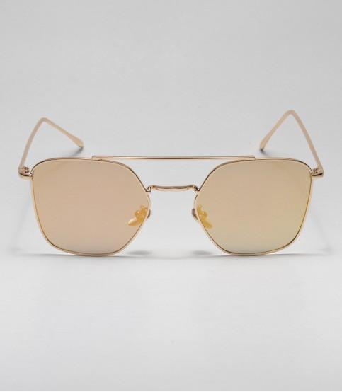 Golden Oval Shape Ladies Sunglass