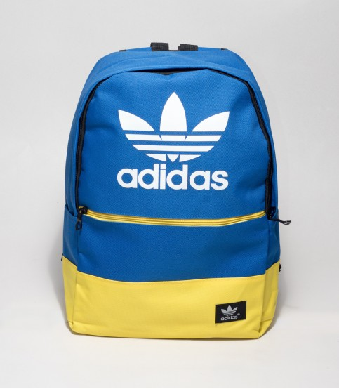 Adidas Blue And Yellow Color Backpack With Adidas Logo