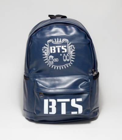 BTS Dark Blue Color Rexine Backpack