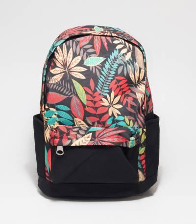 Multi Color Leaf Print Black Backpack