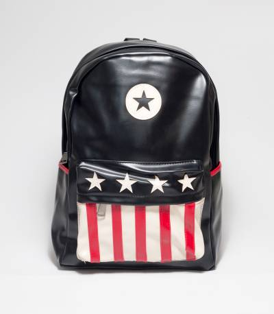 USA Flag Print Black Rexine Backpack