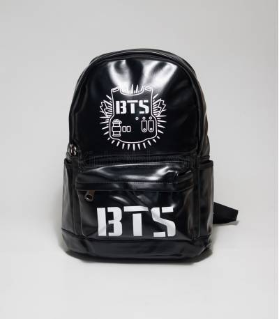 BTS Black Color Rexine Backpack