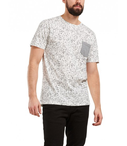 White Printed Round Neck T-Shirt