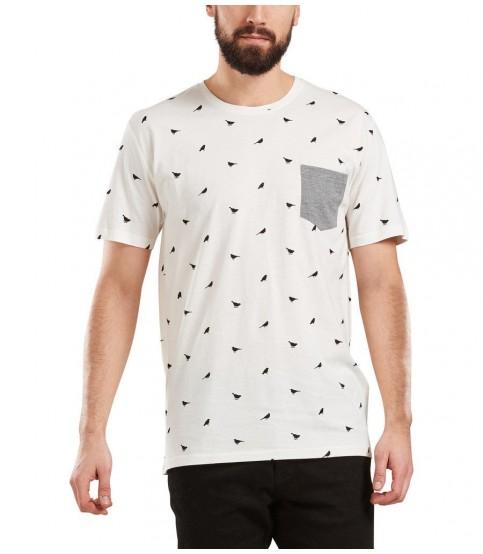 Bird Printed Round Neck White T-Shirt