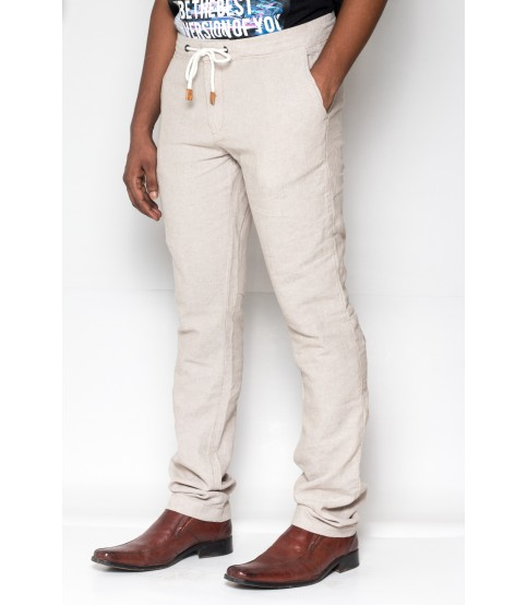 Celio Ramie Cotton Naturel Casual Pant