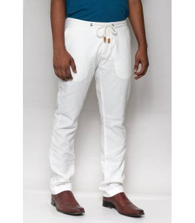 Celio Ramie Cotton Blanc Casual Pant