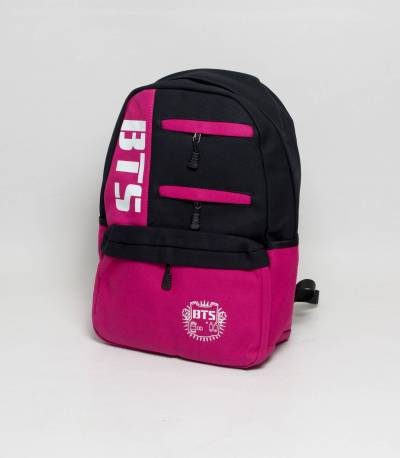 BTS Black And Pink Color Fabrics Backpack