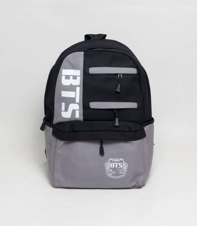 BTS Black And Gray Color Fabrics Backpack