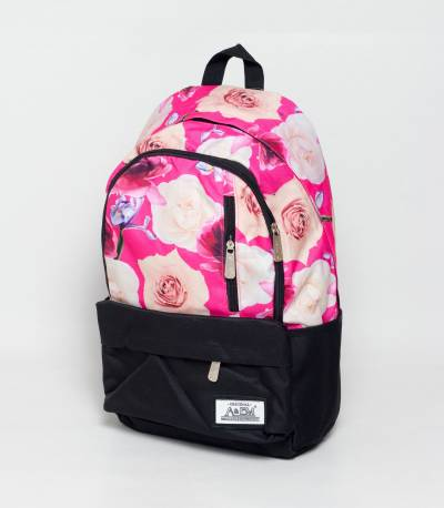 Xike Madi Black And Pink Color Floral Girls Backpack
