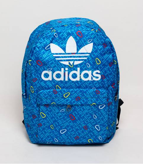 Adidas Blue And Lemon Abstract Design Backpack