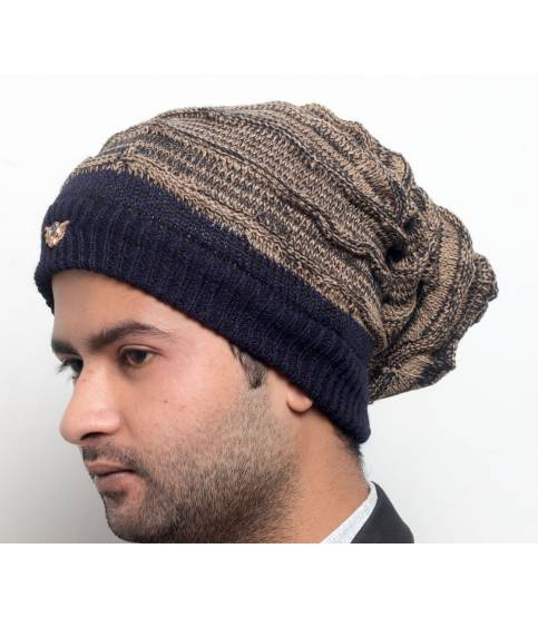 Men's Black And Golden Beanie