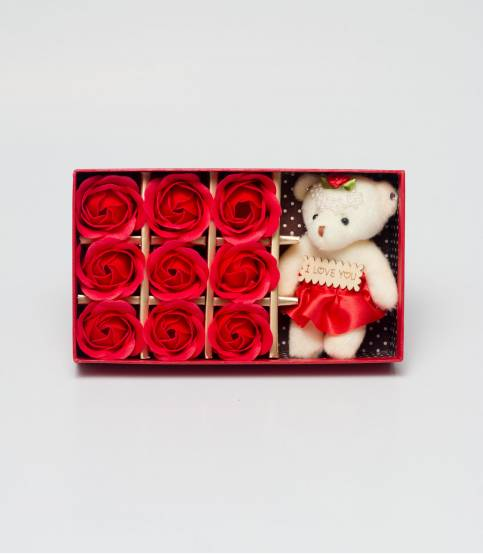 Red Floral Soap With Teddy Bear