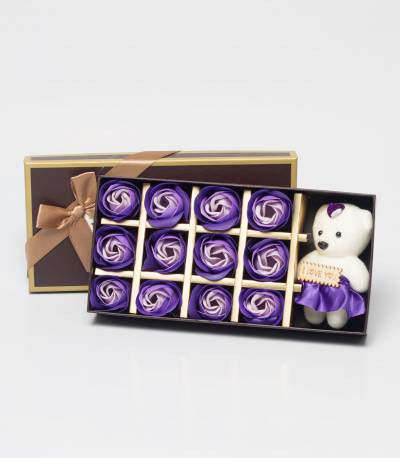 Purple Floral Soap With Teddy Bear