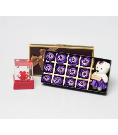 Purple Floral Soap With Teddy Bear And Pen Holder