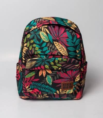 Xike Madi Multi Color Leaf Print Black Backpack