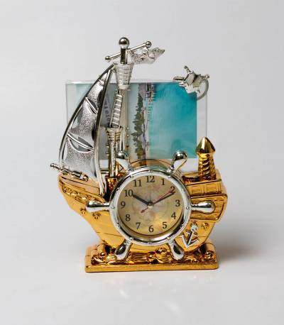 Clock With Photo Frame Golden Ship