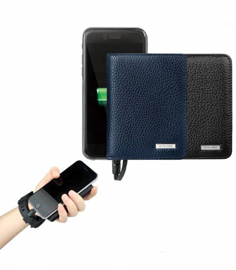 ZHUSE Original Leather Wallet And 4000mAh Power Bank