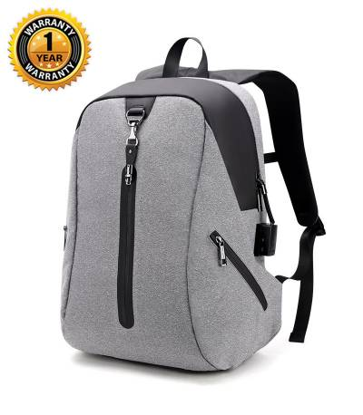 ARCTIC HUNTER USB Anti-Theft Alarm System White Backpack