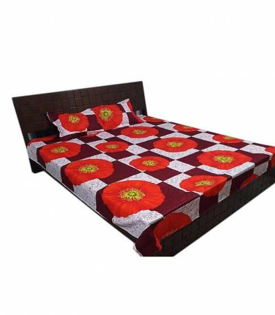 Home Tex Round Flower Red Bedsheet