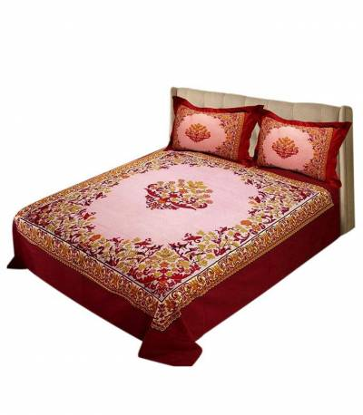 Home Tex Red Penel Bedsheet