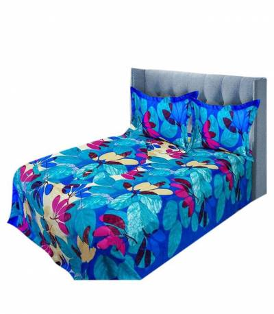 Home Tex Blue and Magenta Leaf Bedsheet