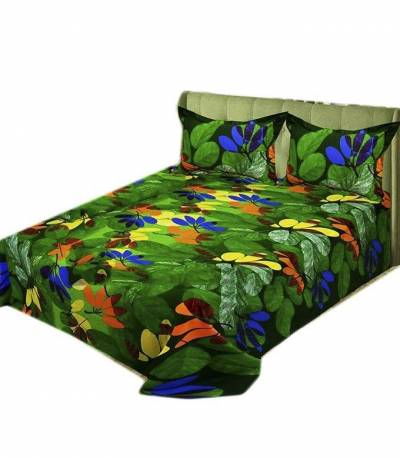 Home Tex Green and Red Leaf Bedsheet