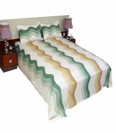 Home Tex Cotton Off White And Green Bedsheet