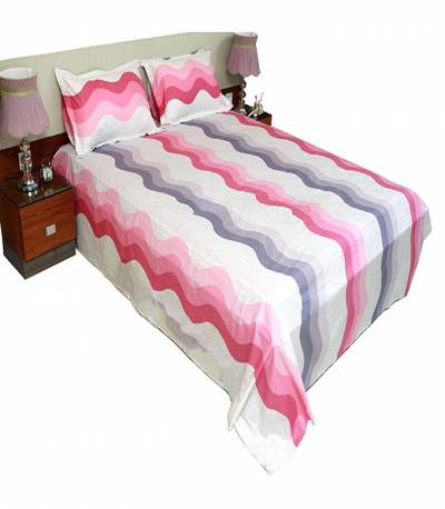 Home Tex Cotton Off White And Pink Bedsheet