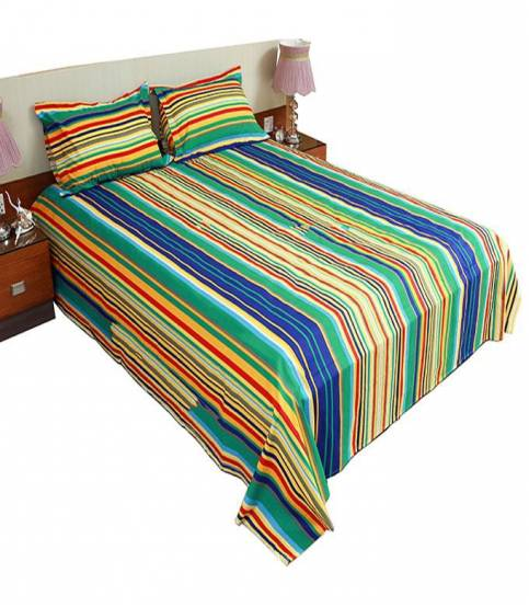 Home Tex Blue And Yellow Step Bedsheet