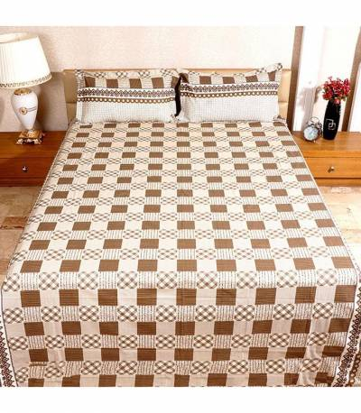 Home Tex Off White And Chocolate Round Step Bedsheet