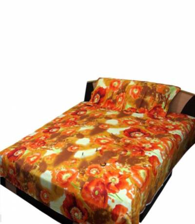 Home Tex Red and Orange Bedsheet