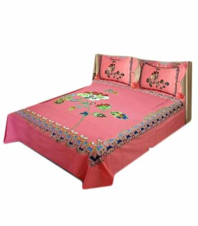 Home Tex Pink Penel Bedsheet