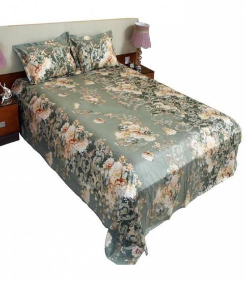 Home Tex Cotton Dark Green Bedsheet