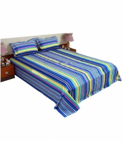 Home Tex Blue Long Step Bedsheet