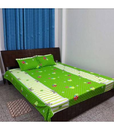 Home Tex Cotton White And Green Flower Bedsheet
