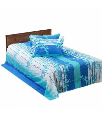 Home Tex Off White And Blue Flower Bedsheet