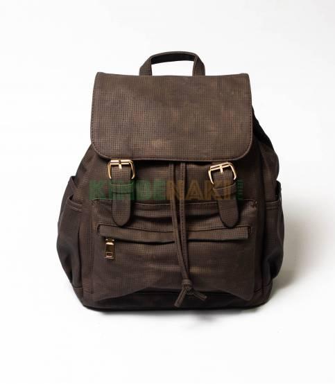 Dark Coffee Dotted Girls Mini Backpack